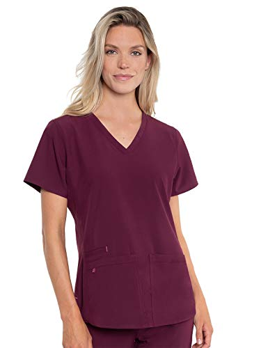 Med Couture Energy Racerback V-Neck Shirttail Scrub Top Women, Wine, Large from Med Couture