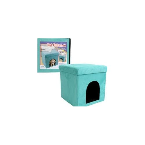 "15""H MICRO SUEDE GREEN PET BEDwCUSHION Foldable Pet Ottoman Great Design Foot Rest and Pet House/ Bed, For Cats and Small Dogs. Great Living Room Décor - Cozy Comfort for your feet and your pet."