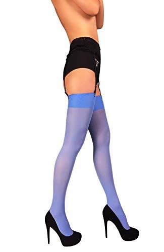 (Thigh High Opaque Microfiber Stockings for Garter and Suspender Belt S - XL (Light Blue, XL))