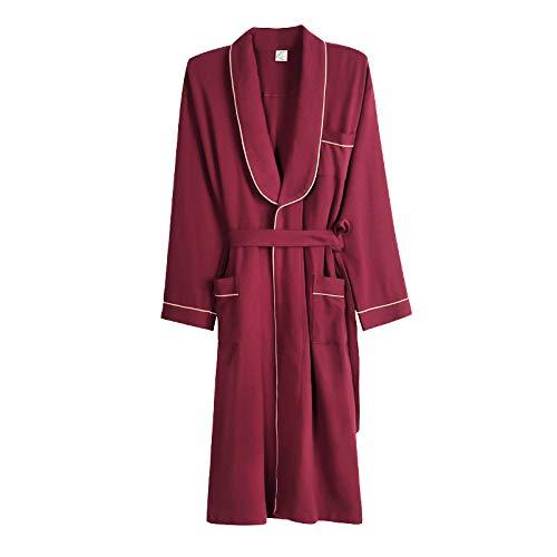 Dressing Gown Spring Autumn Bathrobe Men's Nightgown Long Sleeve Cotton Pajamas Home Casual Sleepwear ()
