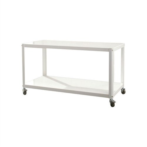 Svitlife White Metal Modern TV Stand Cart with Bottom Storage Shelf Entertainment Center Tv Stand And Shelves Modern Media Console -