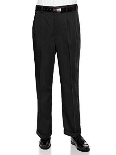 RGM Men's Work To Weekend Microfiber Performance Traditional Fit Pleated Dress Pant Black 42 Long Linen Cuffed Pant