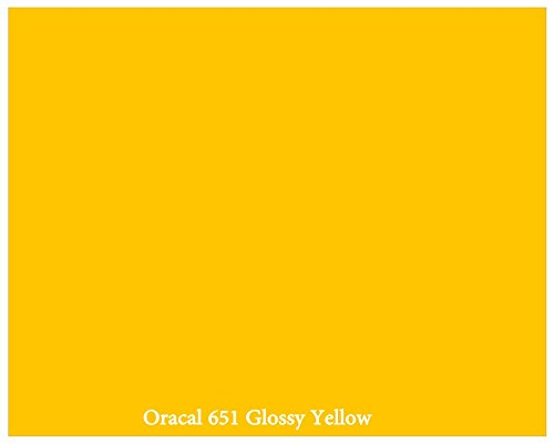 'Yellow' Glossy 12' x 10 Foot Roll of Oracal 651 Permanent Adhesive-Backed Vinyl for Craft Cutters, Punches and Vinyl Sign Cutters