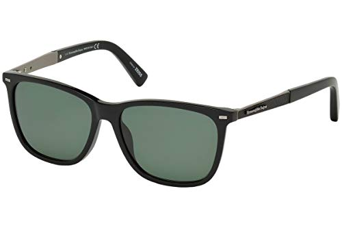 Ermenegildo Zegna EZ0023 - 01R Sunglasses shiny black frame w/ green polarized Lens ()