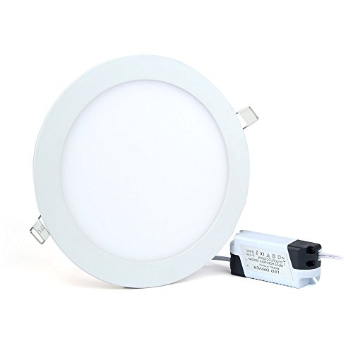 18W LED Panel Light Flat Lamp Round Ultra-Thin Recessed Ceiling Light Downlight Fixture Kit Cool White 5000K 120W Incandescent Equivalent with LED Driver by - Panel Round 18