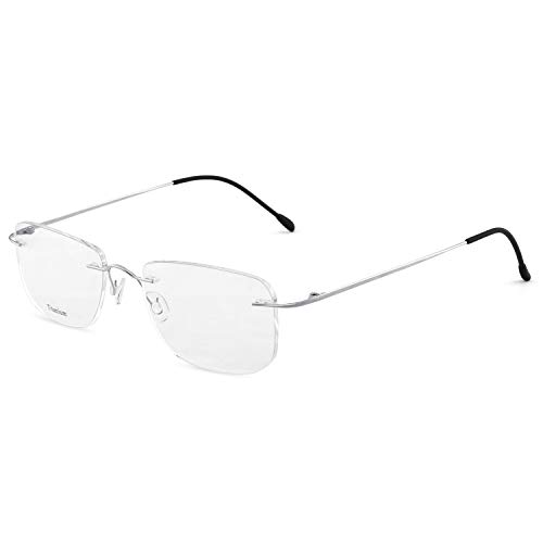 OCCI CHIARI Titanium Men Rectangular Rimless Eyewear Frames Lightweight with Optical Clear Lens 56mm (Bright ()