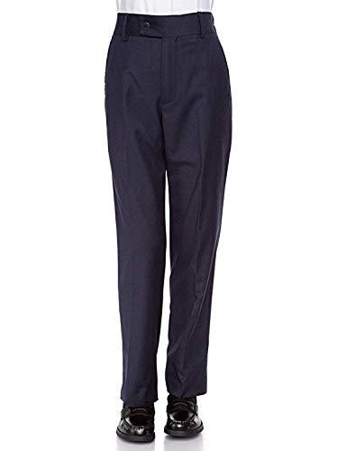 Giovanni Uomo Boys Husky Flat-Front - Slim fit Dress Slacks Poly Rayon Navy -