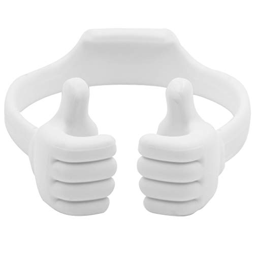 Honsky Thumbs-up Cell Phone Stand Holder, Tablet Stand Cradle for Desk Desktop Smartphone Cellphone Mobile Phone Tablets - Universal Adjustable Flexible, White