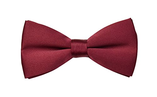 TINYHI Men's Classic Pre-Tied Formal Tuxedo Glod Bowtie Burgundy One Size