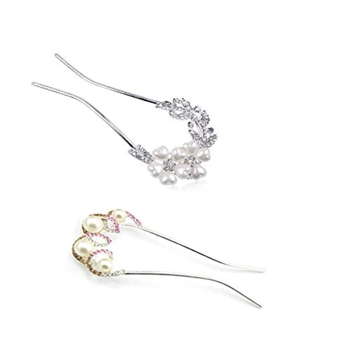 Designer Diamante Pink Flower (Garrelett U-shaped Hair Clip Vintage Pearl Rhinestones Hair Barrettes Ornaments Bridal Hairpin Accessories for Women Ladies Girls 2PCS (Pink and Flower))