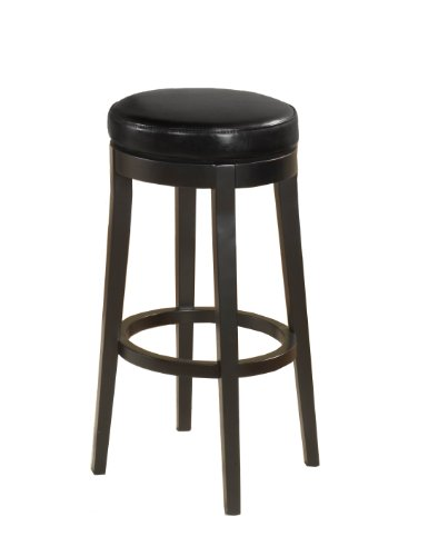 """Price comparison product image Armen Living LC450BABL30 Mbs-450 30"""" Bar Height Swivel Barstool in Black Bonded Leather and Black Wood Finish"""