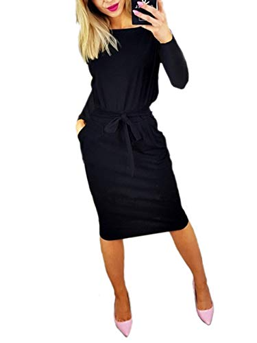VYNCS Women Casual Long Sleeve Round Neck Party Midi Dress Wrap Bodycon Pockets Pencil Dress Belt (Black, Large) by VYNCS