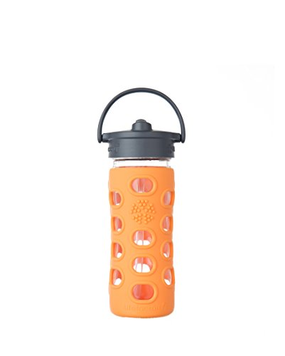 Lifefactory 12-Ounce BPA-Free Glass Water Bottle with Straw Cap and Silicone Sleeve, Orange