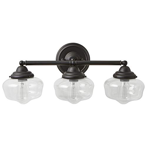 Stone & Beam Schoolhouse Vanity Fixture With 3 Light Bulbs And Clear Glass Shades - 23.25 x 9.5 x 10 Inches, Matte Black