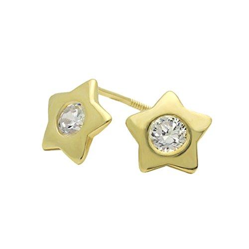 14K Yellow Gold Star Screwback Stud Earrings (Studs Star Gold 14k Yellow)
