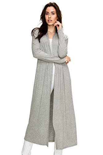 EttelLut Maxi Long Open Front Lightweight Cardigan Sweaters Regular Plus Size H Gray L