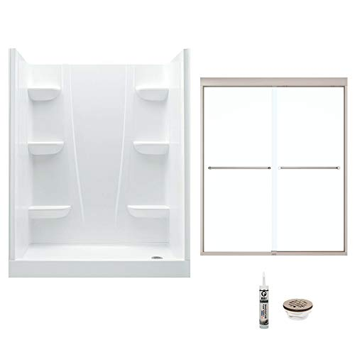 A2 6030CSR-134565-WN Shower Kit with Door 60-in L x 30-in W x 76-in H White/Brushed Nickel ()