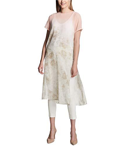 Calvin Klein Women's Short Sleeve Long Printed Tunic, LAT/Soft Pink Rose Multi, S (Calvin Klein Print Pullover)