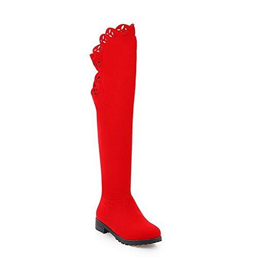 Balamasa Da Donna Tacco Basso Scava Fuori I Tacchi Quadrati Assortiti Stivali Di Camoscio Colore Abl09748 Rosso