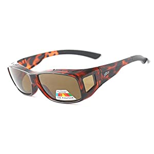 Fitover Polarized Sunglasses to Wear Over Prescription Glasses + car clip holder (TORTOISE, BROWN)