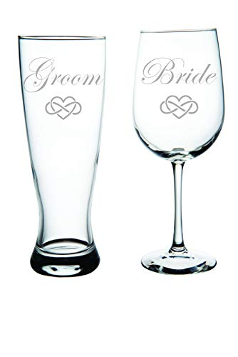 Groom beer and Bride wine glass with infinity heart (set of 2)