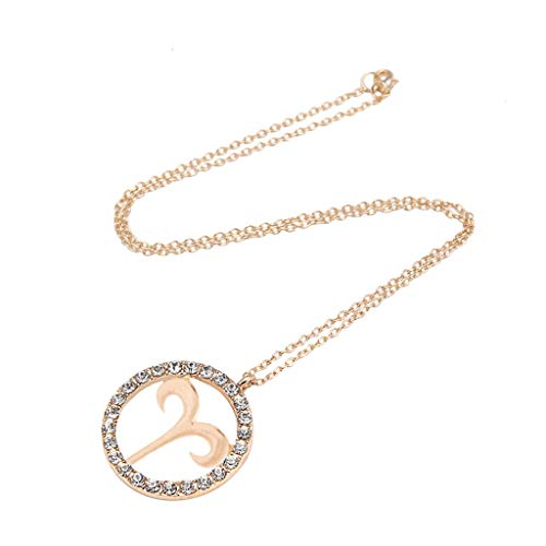 Constellation Necklace,Crytech Fashion Gold Dainty Creative Rhinestones Iced Out Circle Pendant Hollow Engraved Constellation Charm Clavicle Chain Necklace for Women Girls Birthday Gifts (Aries)