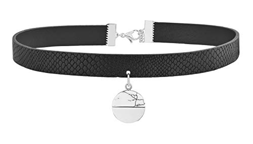 Neckband Collar - Edforce Women's Black Leather Adjustable Leather Choker Band Necklace Neckband Collar Pendant (Silver Marble)