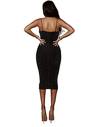 Black Vestido Algodón Midi Discoteca JIZHI Mujer S Vaina AzwqR4Ux4