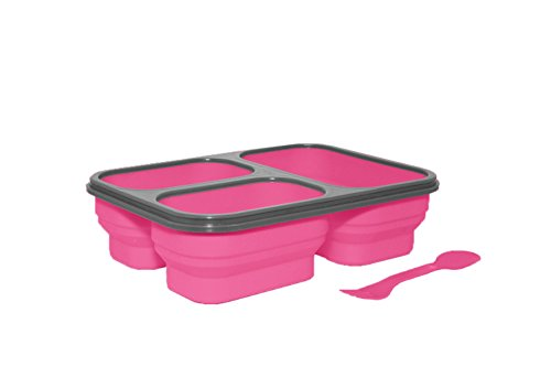 SILVER ONE Expandable & Collapsible Bento Box Silicone Container Children/Adult Lunch Box, 3 Compartments (Eco One Meal Kit) (Pink) -