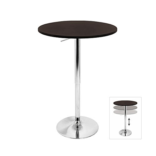 WOYBR BT-TLELIA27 BN MDF, Chrome Top Does Not Spin. Elia Bar Table
