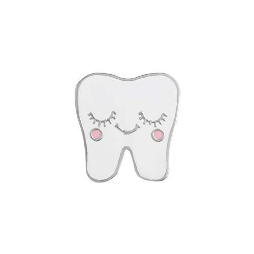 ink2055 Cute Cartoon Alloy Tooth Pattern Lapel Brooch Pin Badge for Sweater T-Shirt Dress Bags Women Men Enamel Badge Decor - White - Enamel Pin Earrings