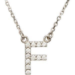 - 14k White Gold Diamond Alphabet Letter F Necklace (1/6 Cttw, GH Color, l1 Clarity), 16.25