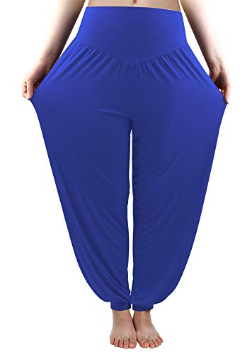 fitglam Women's Harem Pants Loose Casual Lounge Yoga Pants Plus Size Joggers Royal Blue -