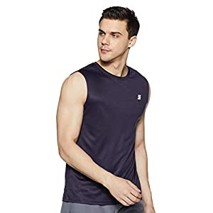 Amazon Brand – Symactive Men's Solid Regular Fit Sleeveless Sports T-Shirt