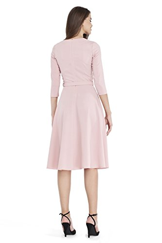 Pink Sleeve Elegant VILONNA Belted Pockets Dress 3 Neck Modest with V Semi Formal 4 Women's Midi aXXZB