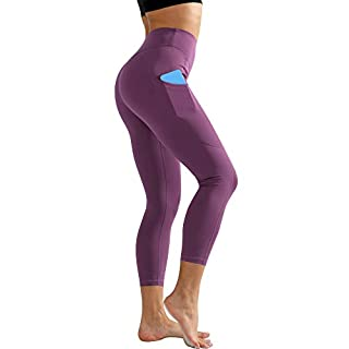 Cadums High Waist Yoga Pants,Tummy Control,Running Leggings for Women with Out Pockets,Purple,Large