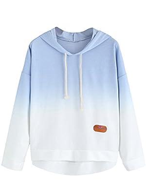 SweatyRocks Women's Sweatshirt Pullover Hoodie Cotton Shirt Blue Ombre