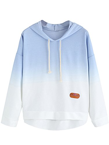 SweatyRocks Women's Long Sleeve Hoodie Sweatshirt Colorblock Tie Dye Print Pullover Shirt Blouse M