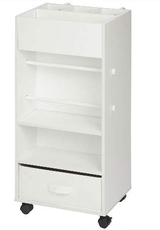Honey Can Do Rolling Storage Cart with Fabric Drawer, White Bundle with IRIS 4-Drawer Storage Cart with Organizer Top, White by Honey Can Do + IRIS USA (Image #2)
