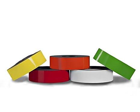 per etichettare evidenziare e contrassegnare Nastro magnetico colorato 0,85mm x 50mm x 5m flessibile e fortemente magnetizzato Colore:bianco