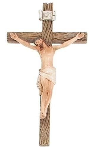 Wall Cross Jesus - Roman Traditional Figure Textured Wood Look 4.25 x 8 Resin Stone Wall Crucifix