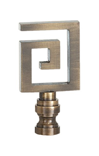 B&P Lamp Greek Key Lamp Finial, 2 1/2 Inch Ht, 1/4-27 - Finial Inch 2 1/2
