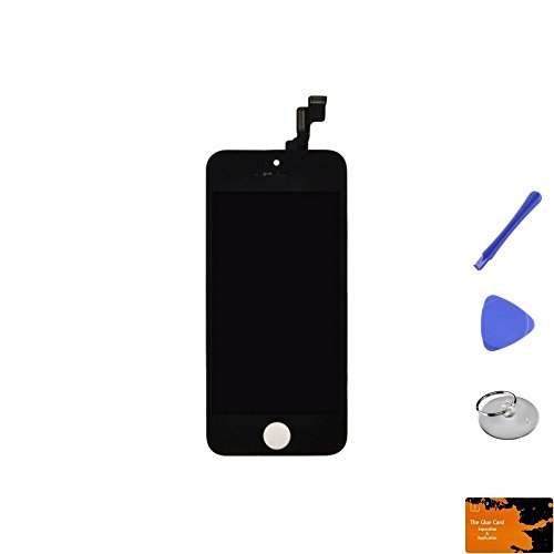 LCD, Digitizer & Frame Assembly for Apple iPhone SE (CDMA & GSM) (Black) & Glue Card, Suction Cup, Tri Pri, Cross Pry Tools by Wholesale Gadget Parts