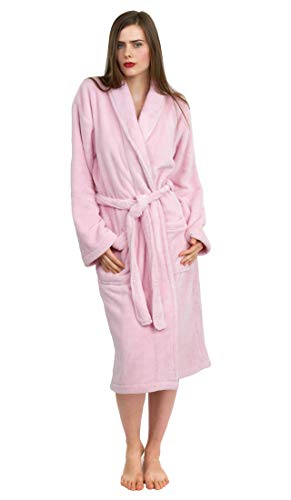 TowelSelections Women's Super Soft Plush Bathrobe Fleece Spa Robe Small/Medium Pink
