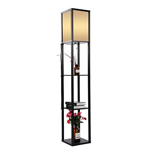 Led Floor Lamp Wooden Frame With Open Box Display Shelves