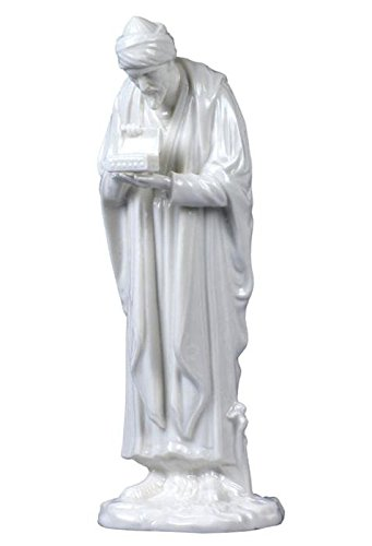 8.75 Inch All White Porcelain Melchior King of Arabia Offering - Melchior Figurine King