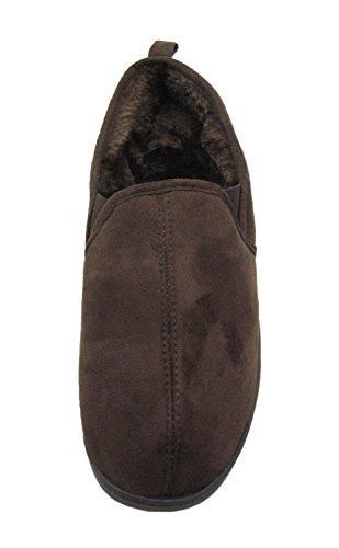 Fashion Blue Micro-suede Memory Foam Feel Zapatillas Slip-on Con Forro Suave De Piel Sintética Marrón