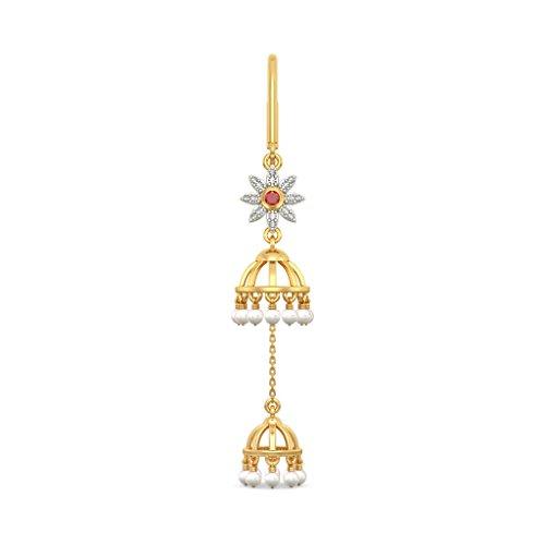 14K Or jaune 0,13CT TW White-diamond (IJ | SI) et blanc perle et rubis Boucles d'oreilles pendantes