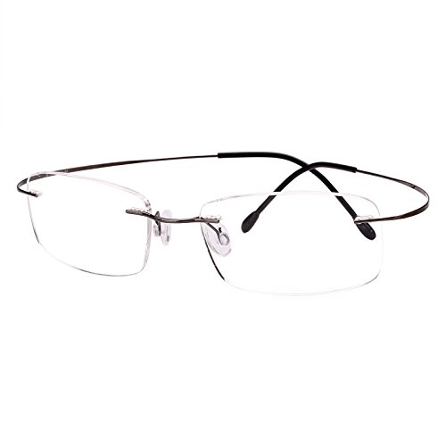 Agstum Pure Titanium Rimless Frame Prescription Hingeless Eyeglasses Rx (Gun metal, 52)