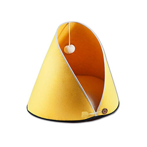 Modern Cozy Cute Cat Cave Bed with Ball, Fold-able Felt Teepee Cat Tent 2-in-1 Pet House with Removable Cushion Pillow for Kitty Puppies Hamster Guinea Pig Galesaur or Both Indoor and Outdoor